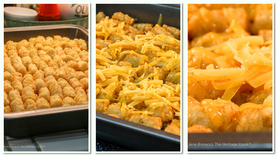 Shots of the steps to assemble the casserole; Breakfast Tater Tot Casserole © 2019 Jane Bonacci, The Heritage Cook