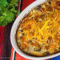 Top down shot fresh from the oven; Cheesy Mexican Frittata © 2019 Jane Bonacci, The Heritage Cook