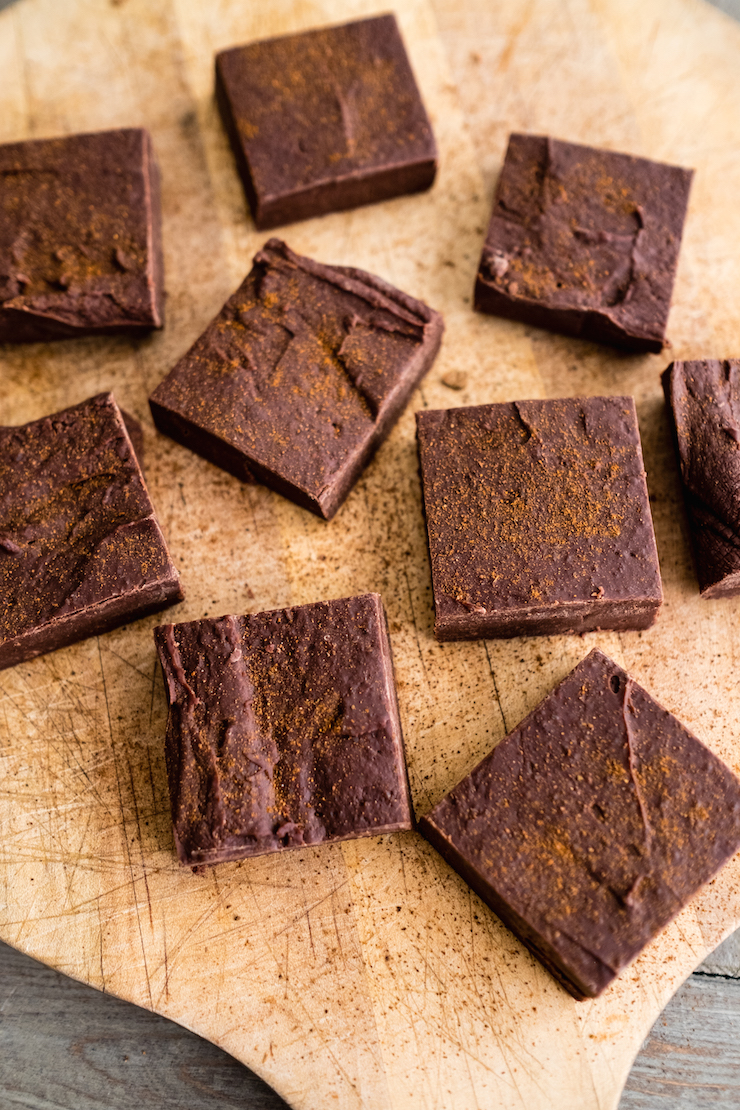 Spicy Mexican Chocolate Fudge; Top 7 Chocolate Fudge Recipes for Valentine's Day compiled by Jane Bonacci, The Heritage Cook 2019