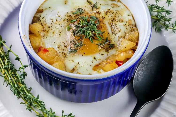 Provencal Baked Eggs and Potatoes © 2019 Jane Bonacci, The Heritage Cook