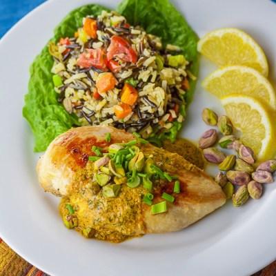 Chicken with Harissa Yogurt Sauce and Pistachios (Gluten Free)