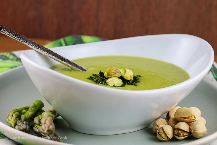 Creamy Asparagus Soup (Gluten Free, Dairy Free, Vegan) © 2019 Jane Bonacci, The Heritage Cook