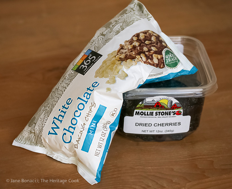 White Chocolate Chips and Dried Cherries for baking
