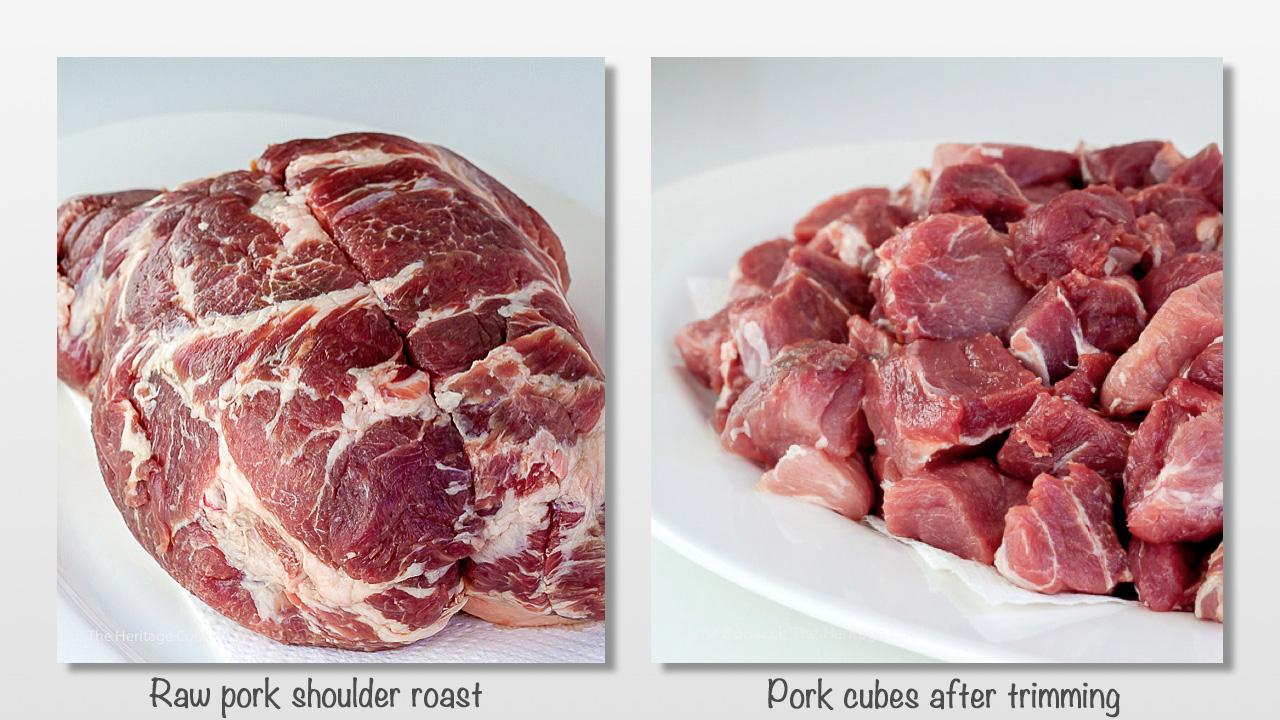Whole and cubed pork shoulder