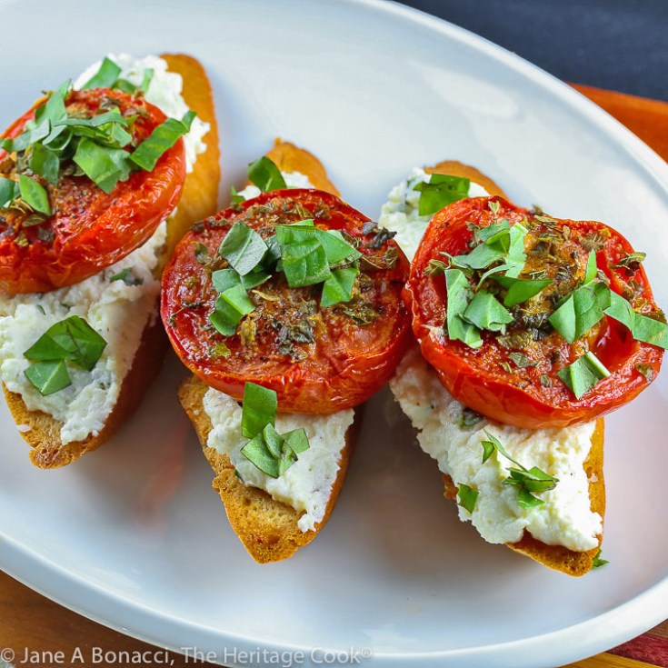 Roasted Tomato Crostini with Herbed Ricotta (Gluten Free)