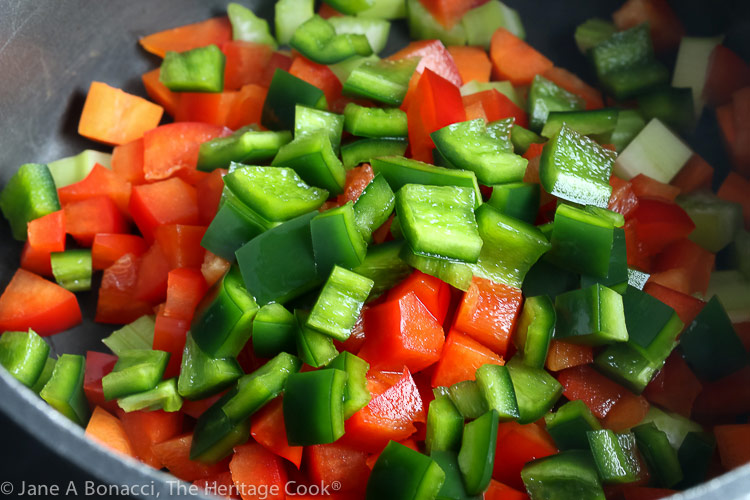 Pan of chopped vegetables to be added to the rice