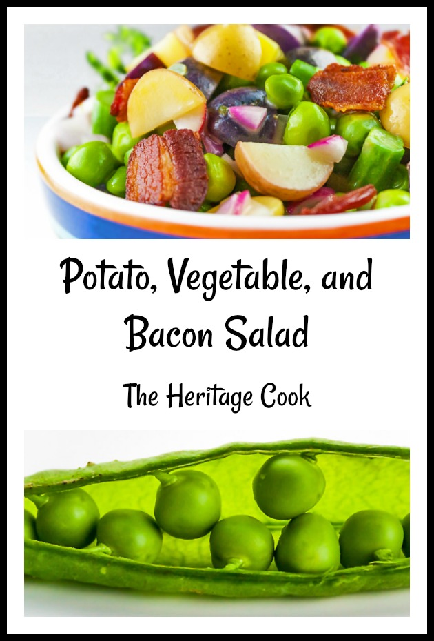 Potato, Spring Vegetable, and Bacon Salad Pinterest image