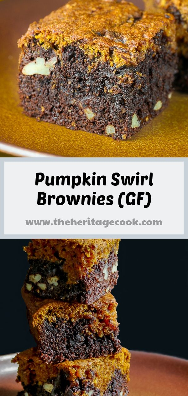 Pumpkin Swirl Brownies © 2019 Jane Bonacci, The Heritage Cook