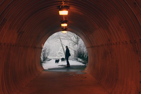 photo in a tunnel looking through to the end