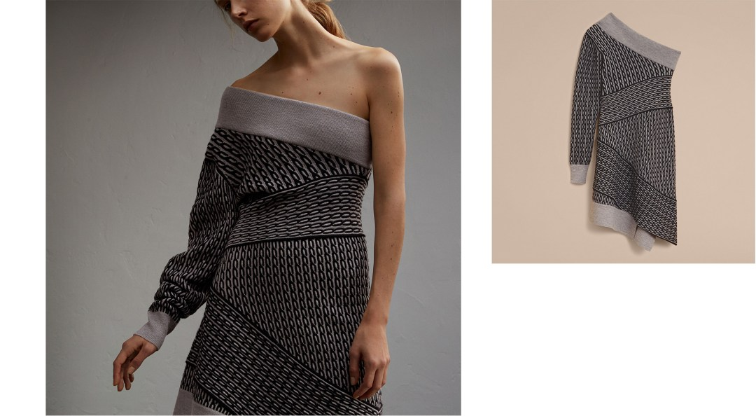 one shoulder cable knot dress burberry