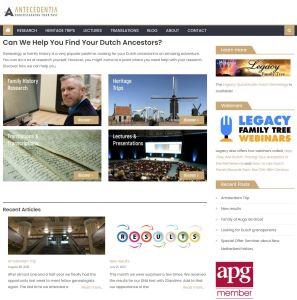 Screenshot of John's website Antecedentia front page