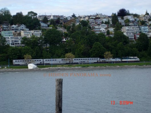 Semiahmoo Bay with the train passing by and the white rock