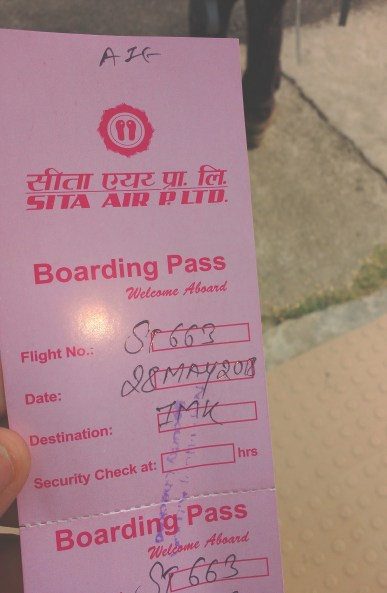 Hand written boarding pass
