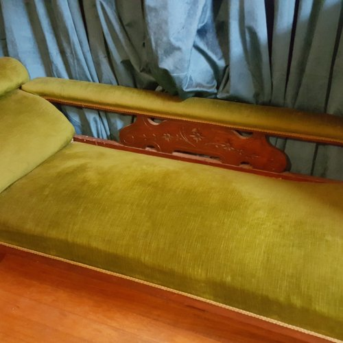 Green Velvet Vintage Couch to Hire