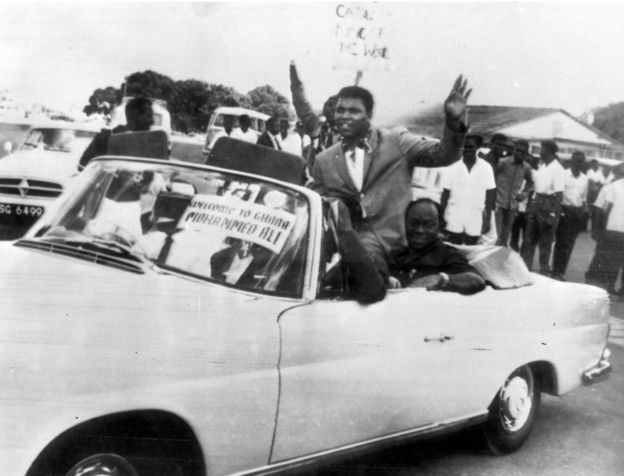 "Ali embarked on his first African tour in 1964, saying: ""I want to see Africa and meet my brothers and sisters."" His visit began in Ghana, the first country in sub-Saharan Africa to win independence from a European power. (Photo Credit: TOPFOTO)"