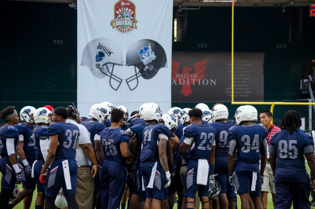The Howard Bison football team huddle up during the 2016 AT&T Nation's Classic Saturday, September 17. (Photo Credit: Zachary Stephens, Staff Photographer/The Hilltop)
