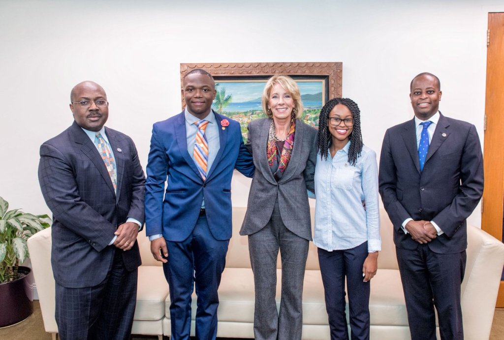 President Frederick Holds Private Meeting With U.S. Secretary of Education Betsy DeVos