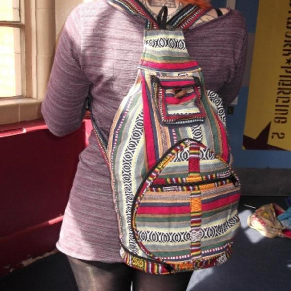 Nepalese multi colour zip up gheri backpack large 3
