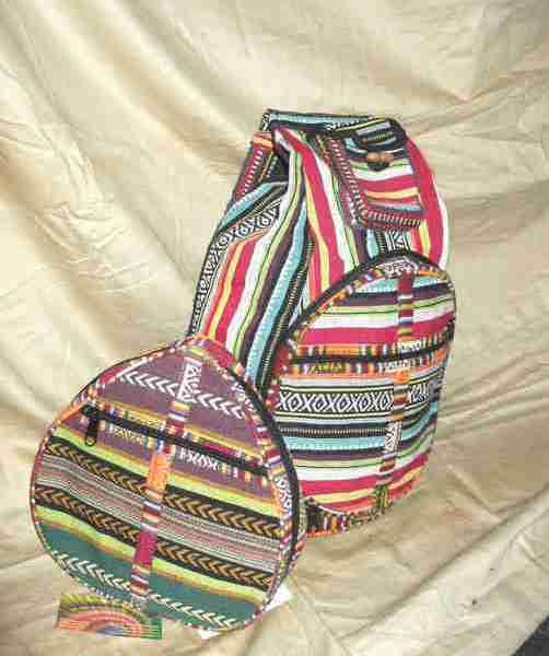 small Nepalese multi colour zip up gheri backpack