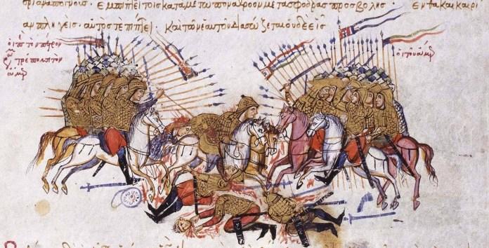 Cavalry battle scene from the 13th century Madrid Version of the John Skylitzes Chronicle, [Public Domain] via Creative Commons.jpg .jpeg