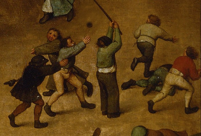 "A scene of children playing from ""Children's Games"" (cropped and edited) painted by Pieter Brueghel the Elder (1526_1530–1569), [Public Domain] via Creative Commons"