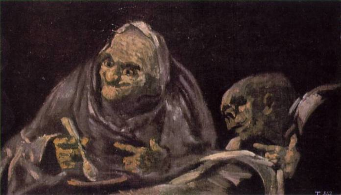 Two Women Eating, painted by Francisco Goya (1746–1828), [Public Domain] via Creative Commons