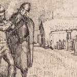 cropped Illustration titled Variant av illustrasjon til Hakon den godes saga, by Christian Krohg (c. 1852-1925), [Public Domain] via Creative Commons and the National Museum of Norway
