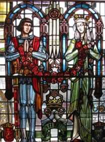 Henry V and Catherine of Valois. Supposedly Henry fell deeply in love with Catherine after his great victory at Agincourt. The marriage however was short lived and the two saw little of each other. Henry returned to France to wage war and died within two years of marrying Catherine, never seeing the child she became pregnant with (Henry VI). Catherine went on to have an affair with her Welsh servant, Owen Tudor with whom she had Edmund Tudor (father of Henry VII) and Jasper Tudor. Glass created by http://www.materialsunlimited.com/