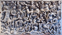 Carving on the sarcofago Ludovisi in Rome, showing Romans in battle