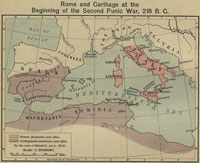 Map Showing Rome and Carthage at the Beginning of the Second Punic War, 218 BC