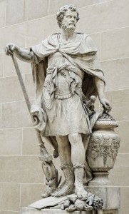 Hannibal Barca with the urn containing rings of the Roman nobility felled at Cannae, statue by Sébastien Slodtz (1704) at the Louvre