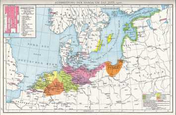 Extent of the Hanseatic League in 1400