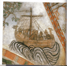 Medieval pirate ship