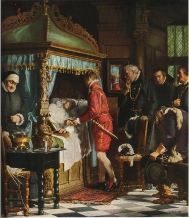 The young Christian being handed the keys to the royal regalia by his dying chancellor (19th century painting).
