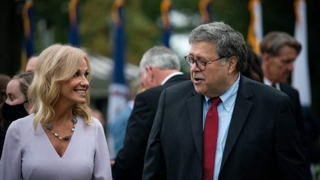 Attorney General William P. Barr and Kellyanne Conway at the White House reception for Supreme Court nominee, Judge Amy Coney Barrett, last Saturday.
