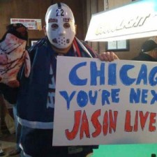 "Jackets fan Matt ""Jason"" Garrett sets the tone prior to the Blue Jackets-Penguins game in Nationwide Arena. Photo courtesy of LTL"