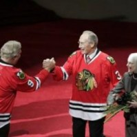 Bobby Hull Congratulating Pierre Pilote on His Jersey Retirement