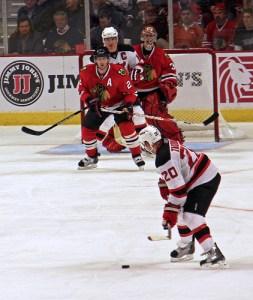 Matt Taormina lines up a shot against Marty Turco