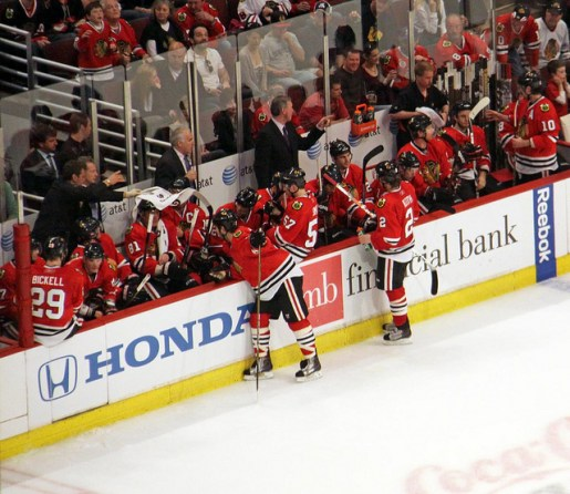 Chicago Blackhawks take their time out late in the 4/10/11 game vs Detroit