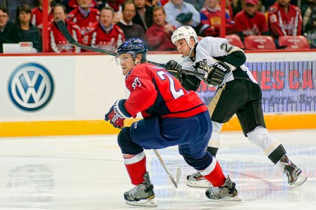 Sullivan, in white, with the Penguins. (Image courtesy of clydeorama/Flickr)
