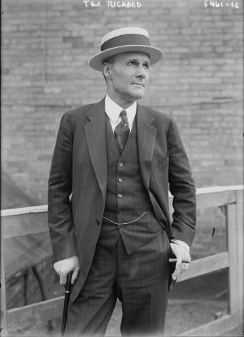 Tex Rickard, American boxing promoter and founder of the NHL's New York Rangers, New York Americans' rival.