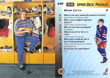Brian Leetch 1992 Upper Deck card