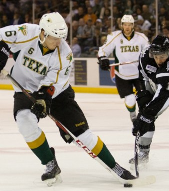 Jamie Oleksiak is making his case that he is NHL-ready thanks to strong play recently (Josh Rasmussen / Texas Stars)