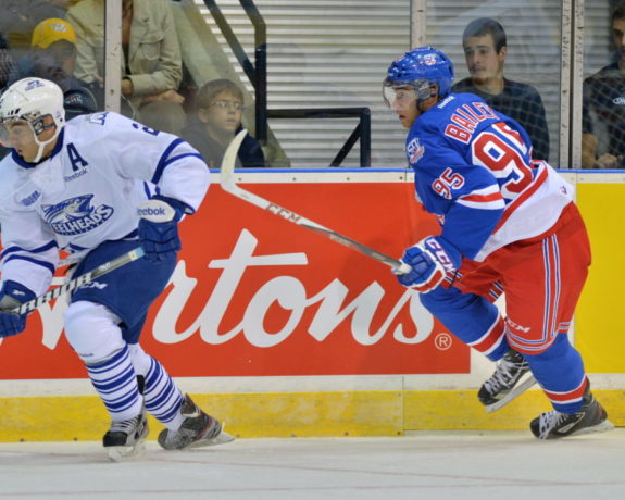 Justin Bailey (right) with the Kitchener Rangers. (Terry Wilson/OHL Images)