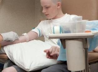 Ty receives his chemo treatment for osteosarcoma.