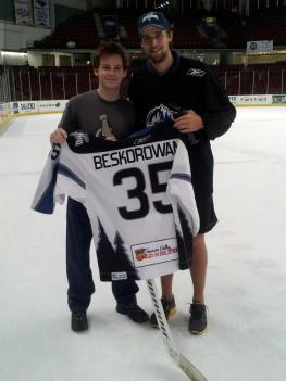 Ulmer poses with Beskorowany after he finally gets his jersey signed.