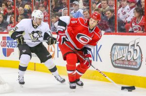 Pittsburgh Penguin DUSTIN JEFFREY and Carolina Hurricane TIM GLEASON - Photo By Andy Martin Jr