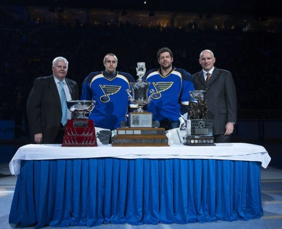 Coach Ken Hitchcock, Jaroslav Halak and goalie Brian Elliott with Blues general manager Doug Armstrong (Scott Rovak-USA TODAY Sports)