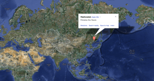 Map of Vladivostok, Russia.  Major distances from the core KHL teams near Moscow. Source:  Google Maps
