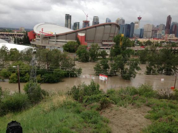 Flooding of Stampede Park in Calgary, Alberta as of June 21, 2013. Photo courtesy @GlobalCalgary.